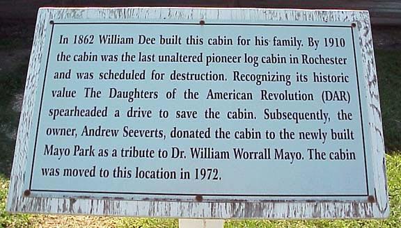 Dee Log Cabin  Plaque